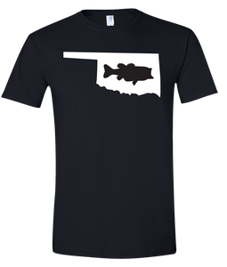 Short Sleeve T-Shirt Oklahoma Black Large Mouth Bass Vibrant Design High Quality Tight Knit Ring Spun Low Maintenance Cotton Printed With The Newest Available Color Transfer Technology