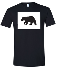 Load image into Gallery viewer, Short Sleeve T-Shirt Colorado Black Black Bear Vibrant Design High Quality Tight Knit Ring Spun Low Maintenance Cotton Printed With The Newest Available Color Transfer Technology