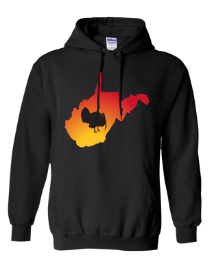 Pullover Hooded Sweatshirt West Virginia Black Turkey Vibrant Design High Quality Tight Knit Ring Spun Low Maintenance Cotton Printed With The Newest Available Color Transfer Technology