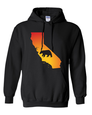 Pullover Hooded Sweatshirt California Black Black Bear Vibrant Design High Quality Tight Knit Ring Spun Low Maintenance Cotton Printed With The Newest Available Color Transfer Technology