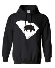 Load image into Gallery viewer, Pullover Hooded Sweatshirt South Carolina Black Wild Hog Vibrant Design High Quality Tight Knit Ring Spun Low Maintenance Cotton Printed With The Newest Available Color Transfer Technology