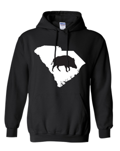 Pullover Hooded Sweatshirt South Carolina Black Wild Hog Vibrant Design High Quality Tight Knit Ring Spun Low Maintenance Cotton Printed With The Newest Available Color Transfer Technology