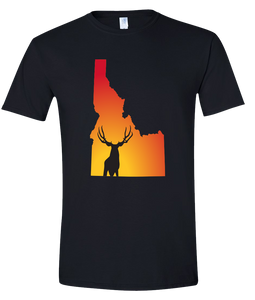 Short Sleeve T-Shirt Idaho Black Mule Deer Vibrant Design High Quality Tight Knit Ring Spun Low Maintenance Cotton Printed With The Newest Available Color Transfer Technology