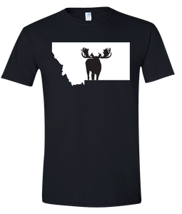 Short Sleeve T-Shirt Montana Black Moose Vibrant Design High Quality Tight Knit Ring Spun Low Maintenance Cotton Printed With The Newest Available Color Transfer Technology