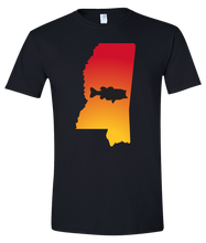 Load image into Gallery viewer, Short Sleeve T-Shirt Mississippi Black Large Mouth Bass Vibrant Design High Quality Tight Knit Ring Spun Low Maintenance Cotton Printed With The Newest Available Color Transfer Technology