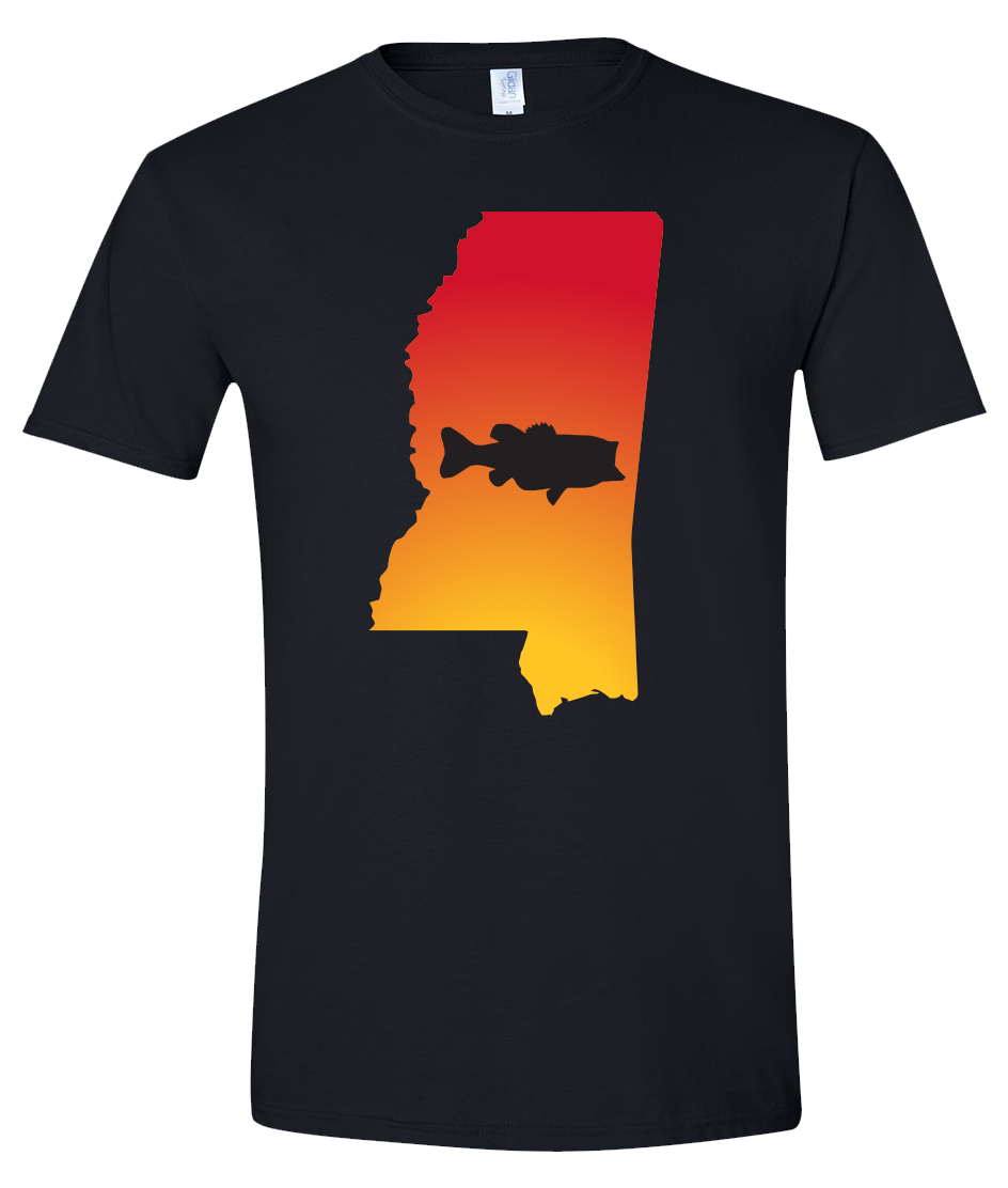 Short Sleeve T-Shirt Mississippi Black Large Mouth Bass Vibrant Design High Quality Tight Knit Ring Spun Low Maintenance Cotton Printed With The Newest Available Color Transfer Technology