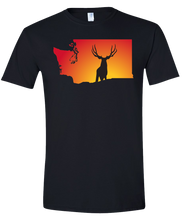 Load image into Gallery viewer, Short Sleeve T-Shirt Washington Black Mule Deer Vibrant Design High Quality Tight Knit Ring Spun Low Maintenance Cotton Printed With The Newest Available Color Transfer Technology