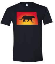 Load image into Gallery viewer, Short Sleeve T-Shirt North Dakota Black Mountain Lion Vibrant Design High Quality Tight Knit Ring Spun Low Maintenance Cotton Printed With The Newest Available Color Transfer Technology