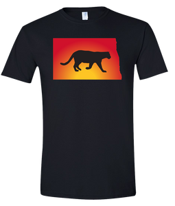 Short Sleeve T-Shirt North Dakota Black Mountain Lion Vibrant Design High Quality Tight Knit Ring Spun Low Maintenance Cotton Printed With The Newest Available Color Transfer Technology