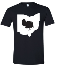 Load image into Gallery viewer, Short Sleeve T-Shirt Ohio Black Turkey Vibrant Design High Quality Tight Knit Ring Spun Low Maintenance Cotton Printed With The Newest Available Color Transfer Technology