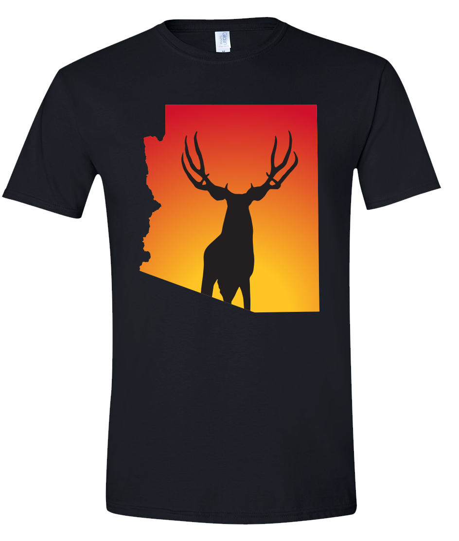 Short Sleeve T-Shirt Arizona Black Mule Deer Vibrant Design High Quality Tight Knit Ring Spun Low Maintenance Cotton Printed With The Newest Available Color Transfer Technology