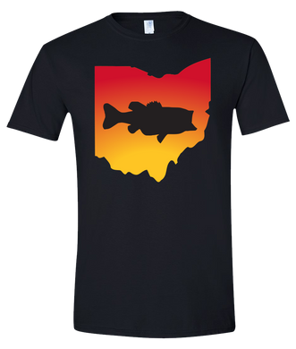 Short Sleeve T-Shirt Ohio Black Large Mouth Bass Vibrant Design High Quality Tight Knit Ring Spun Low Maintenance Cotton Printed With The Newest Available Color Transfer Technology