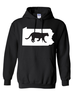 Pullover Hooded Sweatshirt Pennsylvania Black Mountain Lion Vibrant Design High Quality Tight Knit Ring Spun Low Maintenance Cotton Printed With The Newest Available Color Transfer Technology