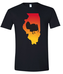 Short Sleeve T-Shirt Illinois Black Turkey Vibrant Design High Quality Tight Knit Ring Spun Low Maintenance Cotton Printed With The Newest Available Color Transfer Technology