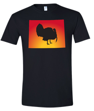 Load image into Gallery viewer, Short Sleeve T-Shirt Wyoming Black Turkey Vibrant Design High Quality Tight Knit Ring Spun Low Maintenance Cotton Printed With The Newest Available Color Transfer Technology