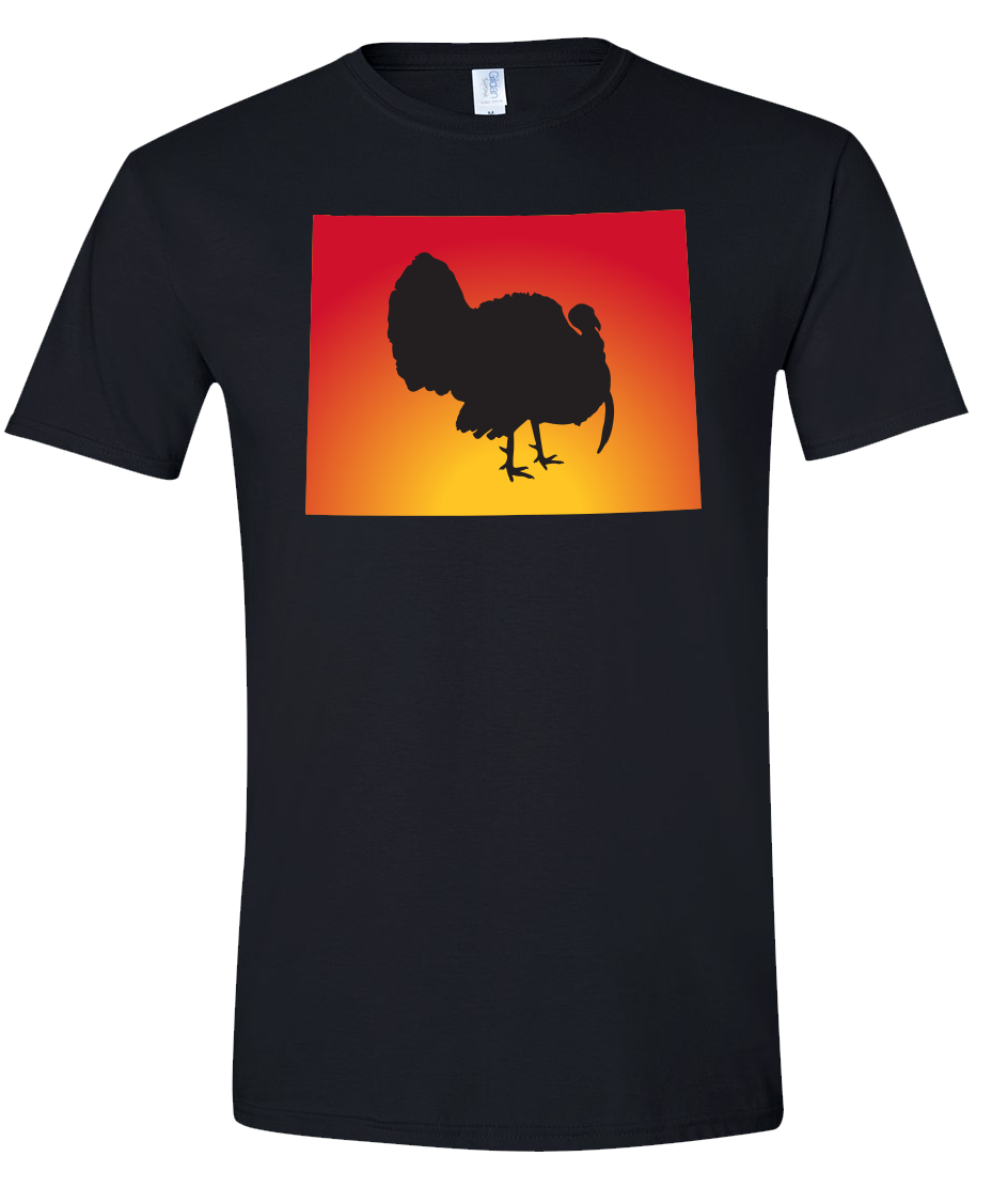 Short Sleeve T-Shirt Wyoming Black Turkey Vibrant Design High Quality Tight Knit Ring Spun Low Maintenance Cotton Printed With The Newest Available Color Transfer Technology