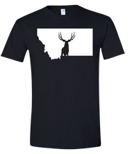 Load image into Gallery viewer, Short Sleeve T-Shirt Montana Black Mule Deer Vibrant Design High Quality Tight Knit Ring Spun Low Maintenance Cotton Printed With The Newest Available Color Transfer Technology
