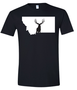 Short Sleeve T-Shirt Montana Black Mule Deer Vibrant Design High Quality Tight Knit Ring Spun Low Maintenance Cotton Printed With The Newest Available Color Transfer Technology