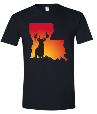 Short Sleeve T-Shirt Louisiana Black Whitetail Deer Vibrant Design High Quality Tight Knit Ring Spun Low Maintenance Cotton Printed With The Newest Available Color Transfer Technology