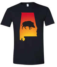Load image into Gallery viewer, Short Sleeve T-Shirt Alabama Black Wild Hog Vibrant Design High Quality Tight Knit Ring Spun Low Maintenance Cotton Printed With The Newest Available Color Transfer Technology