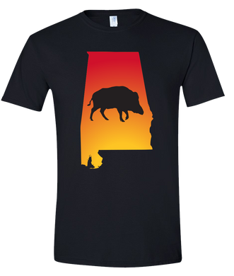Short Sleeve T-Shirt Alabama Black Wild Hog Vibrant Design High Quality Tight Knit Ring Spun Low Maintenance Cotton Printed With The Newest Available Color Transfer Technology