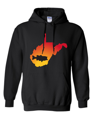 Pullover Hooded Sweatshirt West Virginia Black Large Mouth Bass Vibrant Design High Quality Tight Knit Ring Spun Low Maintenance Cotton Printed With The Newest Available Color Transfer Technology