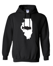 Load image into Gallery viewer, Pullover Hooded Sweatshirt Illinois Black Large Mouth Bass Vibrant Design High Quality Tight Knit Ring Spun Low Maintenance Cotton Printed With The Newest Available Color Transfer Technology