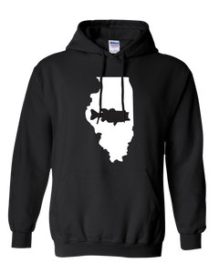Pullover Hooded Sweatshirt Illinois Black Large Mouth Bass Vibrant Design High Quality Tight Knit Ring Spun Low Maintenance Cotton Printed With The Newest Available Color Transfer Technology