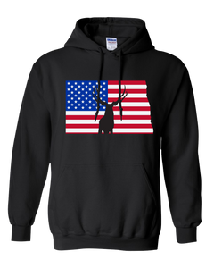 Pullover Hooded Sweatshirt North Dakota Black Mule Deer Vibrant Design High Quality Tight Knit Ring Spun Low Maintenance Cotton Printed With The Newest Available Color Transfer Technology