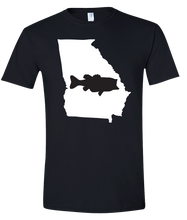 Load image into Gallery viewer, Short Sleeve T-Shirt Georgia Black Large Mouth Bass Vibrant Design High Quality Tight Knit Ring Spun Low Maintenance Cotton Printed With The Newest Available Color Transfer Technology