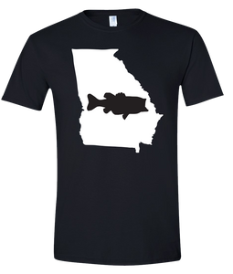 Short Sleeve T-Shirt Georgia Black Large Mouth Bass Vibrant Design High Quality Tight Knit Ring Spun Low Maintenance Cotton Printed With The Newest Available Color Transfer Technology