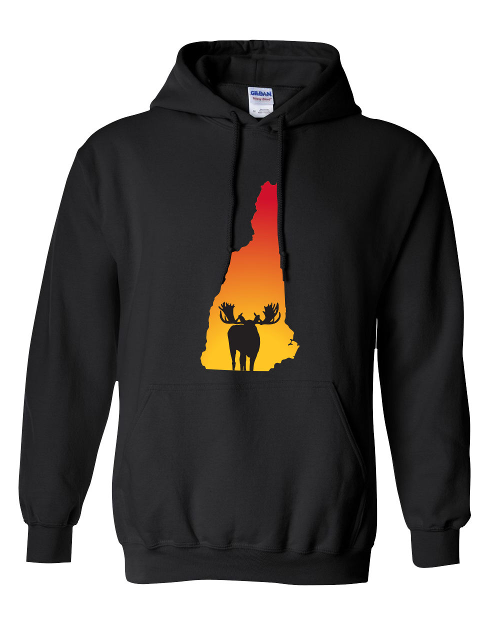 Pullover Hooded Sweatshirt New Hampshire Black Moose Vibrant Design High Quality Tight Knit Ring Spun Low Maintenance Cotton Printed With The Newest Available Color Transfer Technology