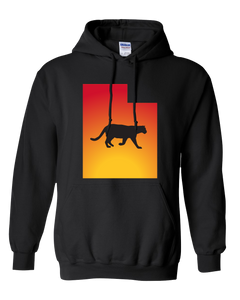 Pullover Hooded Sweatshirt Utah Black Mountain Lion Vibrant Design High Quality Tight Knit Ring Spun Low Maintenance Cotton Printed With The Newest Available Color Transfer Technology