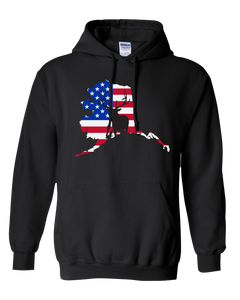 Pullover Hooded Sweatshirt Alaska Black Elk Vibrant Design High Quality Tight Knit Ring Spun Low Maintenance Cotton Printed With The Newest Available Color Transfer Technology
