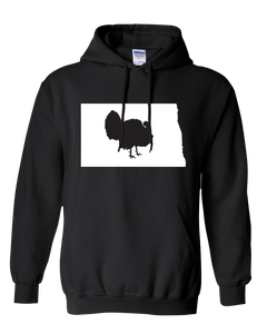 Pullover Hooded Sweatshirt North Dakota Black Turkey Vibrant Design High Quality Tight Knit Ring Spun Low Maintenance Cotton Printed With The Newest Available Color Transfer Technology