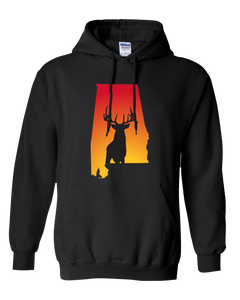 Pullover Hooded Sweatshirt Alabama Black Whitetail Deer Vibrant Design High Quality Tight Knit Ring Spun Low Maintenance Cotton Printed With The Newest Available Color Transfer Technology
