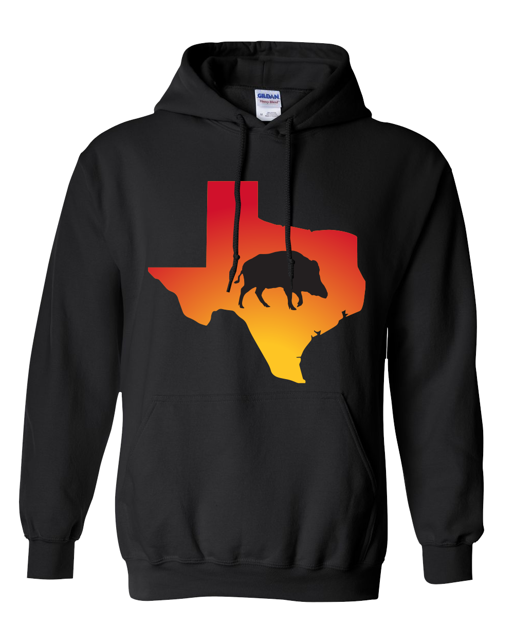 Pullover Hooded Sweatshirt Texas Black Wild Hog Vibrant Design High Quality Tight Knit Ring Spun Low Maintenance Cotton Printed With The Newest Available Color Transfer Technology