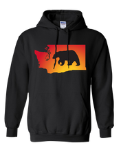 Load image into Gallery viewer, Pullover Hooded Sweatshirt Washington Black Black Bear Vibrant Design High Quality Tight Knit Ring Spun Low Maintenance Cotton Printed With The Newest Available Color Transfer Technology