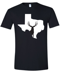 Short Sleeve T-Shirt Texas Black Mule Deer Vibrant Design High Quality Tight Knit Ring Spun Low Maintenance Cotton Printed With The Newest Available Color Transfer Technology