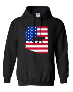 Pullover Hooded Sweatshirt Arizona Black Mountain Lion Vibrant Design High Quality Tight Knit Ring Spun Low Maintenance Cotton Printed With The Newest Available Color Transfer Technology
