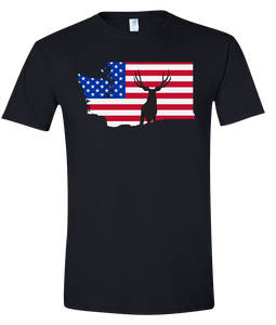 Short Sleeve T-Shirt Washington Black Mule Deer Vibrant Design High Quality Tight Knit Ring Spun Low Maintenance Cotton Printed With The Newest Available Color Transfer Technology