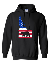 Load image into Gallery viewer, Pullover Hooded Sweatshirt Idaho Black Black Bear Vibrant Design High Quality Tight Knit Ring Spun Low Maintenance Cotton Printed With The Newest Available Color Transfer Technology