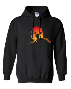Pullover Hooded Sweatshirt Alaska Black Moose Vibrant Design High Quality Tight Knit Ring Spun Low Maintenance Cotton Printed With The Newest Available Color Transfer Technology