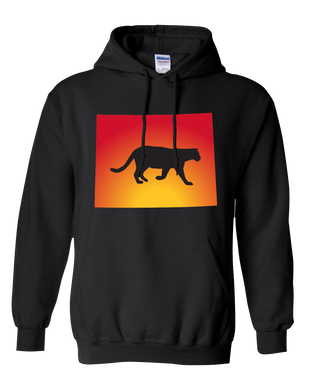 Pullover Hooded Sweatshirt Wyoming Black Mountain Lion Vibrant Design High Quality Tight Knit Ring Spun Low Maintenance Cotton Printed With The Newest Available Color Transfer Technology