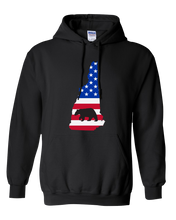 Load image into Gallery viewer, Pullover Hooded Sweatshirt New Hampshire Black Black Bear Vibrant Design High Quality Tight Knit Ring Spun Low Maintenance Cotton Printed With The Newest Available Color Transfer Technology