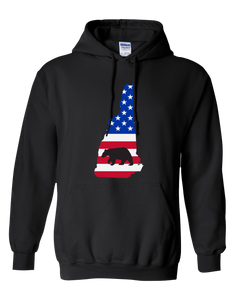 Pullover Hooded Sweatshirt New Hampshire Black Black Bear Vibrant Design High Quality Tight Knit Ring Spun Low Maintenance Cotton Printed With The Newest Available Color Transfer Technology