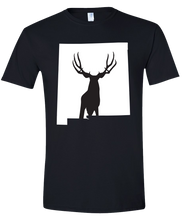 Load image into Gallery viewer, Short Sleeve T-Shirt New Mexico Black Mule Deer Vibrant Design High Quality Tight Knit Ring Spun Low Maintenance Cotton Printed With The Newest Available Color Transfer Technology