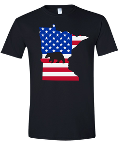 Short Sleeve T-Shirt Minnesota Black Black Bear Vibrant Design High Quality Tight Knit Ring Spun Low Maintenance Cotton Printed With The Newest Available Color Transfer Technology