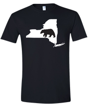 Load image into Gallery viewer, Short Sleeve T-Shirt New York Black Black Bear Vibrant Design High Quality Tight Knit Ring Spun Low Maintenance Cotton Printed With The Newest Available Color Transfer Technology