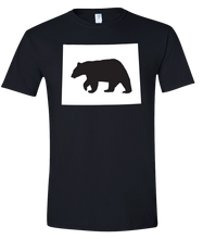Load image into Gallery viewer, Short Sleeve T-Shirt Wyoming Black Black Bear Vibrant Design High Quality Tight Knit Ring Spun Low Maintenance Cotton Printed With The Newest Available Color Transfer Technology